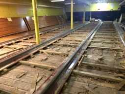 Bowling alley floor removed