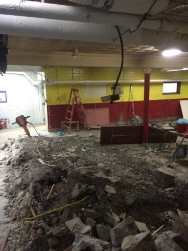 hammer cement in bowling alley