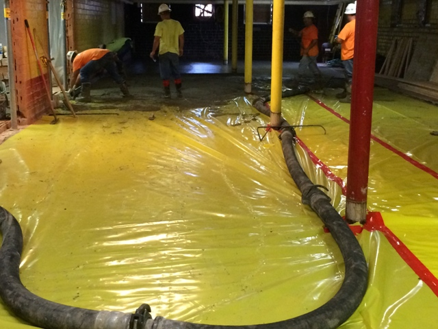 pouring cement new floor