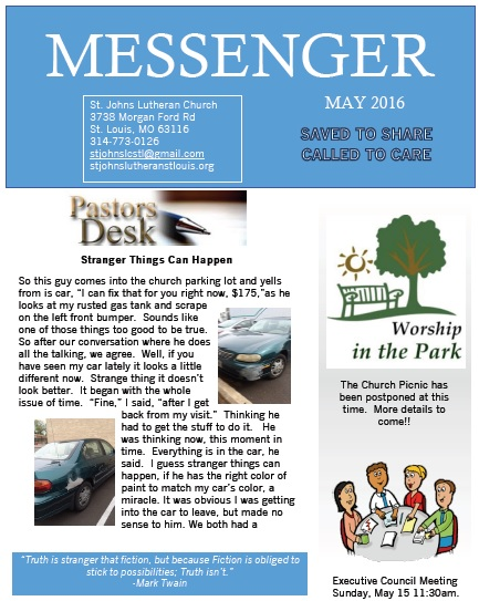 May 2016 Messenger page