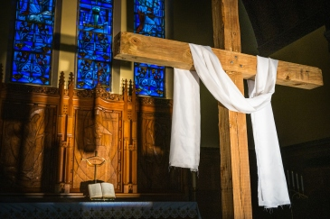 The altar and a wooden cross setup for Easter at St. Johns Lutheran Church on Tuesday, April 21, 2020, in St. Louis. LCMS Communications/Erik M. Lunsford