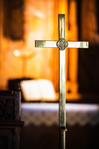 The processional cross and altar at St. Johns Lutheran Church on Tuesday, April 21, 2020, in St. Louis. LCMS Communications/Erik M. Lunsford